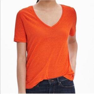 Linen v neck tee shirt